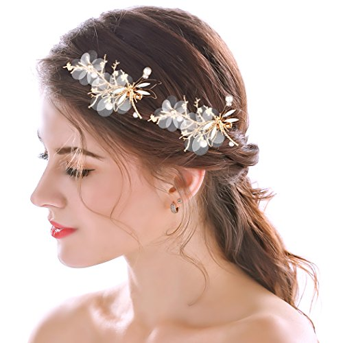 Aukmla Bridal Hair Pins Set Wedding Flowers Hair Slides Clips Dragonfly Rhinestones Hair Accessories(Set of 2)