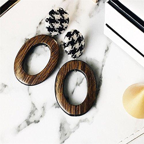 (Catwalk models in Europe and America retro plaid cloth circle button earrings earrings oval geometric earrings )