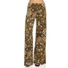 ICONOFLASH Women's Wide Leg Palazzo Pants with Fold-Over Waist