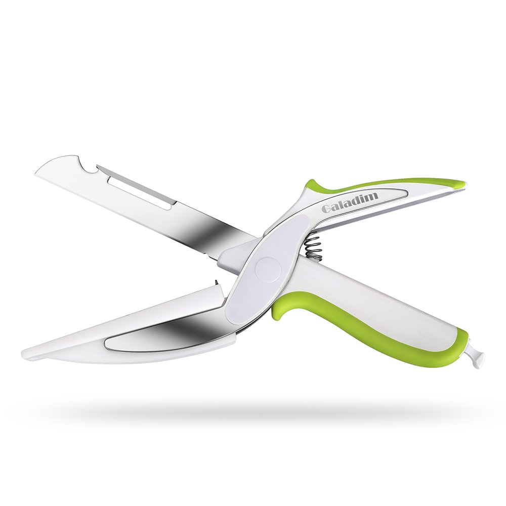 Galadim Kitchen Shears With Built-in Cutting Board - Multipurpose Clever Kitchen Cutter Scissors - Ideal Tool for Picnic (Knife with Cutting Board, Fruits Peeler, Chef's Knife, Bottle Opener)