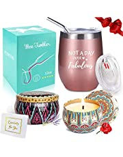 Wine Tumbler with Saying + Scented Candles Gift Set | Not A Day Over Fabulous, 12 oz Stainless Steel Double Insulated Stemless Wine Glass with Lid and Straw, Funny Gift for Women
