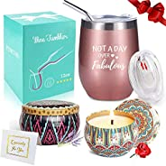 Wine Tumbler with Saying + Scented Candles Gift Set | Not A Day Over Fabulous, 12 oz Stainless Steel Double In
