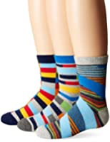 Jefferies Socks Big Boys' Funky Stripe Crew Socks (3 Pair Pack)