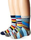 Jefferies Socks Boys' Big Funky Stripe Crew Socks (3 Pair Pack), Multi, Medium