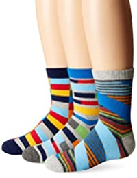 Jefferies Socks Boys' Funky Stripe Crew Socks 3 Pair Pack