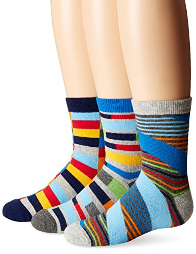 Jefferies Socks Boys Funky Stripe Crew Socks 3 Pair Pack