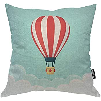 Moslion Balloon Pillows Hot Air Balloon with Red White Stripes Cloud in The Sky Throw Pillow Cover Decorative Pillow Case Square Cushion Accent Cotton Linen Home 18x18 Inch Green