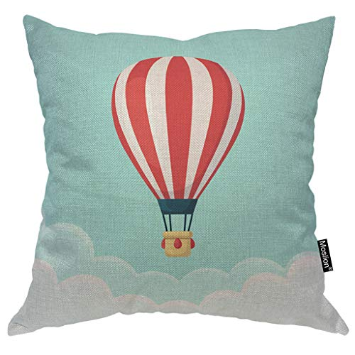 Moslion Balloon Pillows Hot Air Balloon with Red White Stripes Cloud in The Sky Throw Pillow Cover Decorative Pillow Case Square Cushion Accent Cotton Linen Home 18x18 Inch Green ()