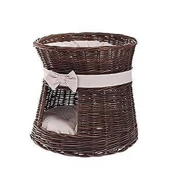 Hecha a mano cesta de mimbre Pet camas para perros gatos, mimbre cama para mascotas con cojín: Amazon.es: Productos para mascotas