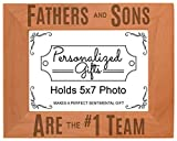 New Dad Gifts Fathers and Sons Are #1 Team Natural Wood Engraved 5x7 Landscape Picture Frame Wood