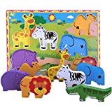 Lewo Wooden Wild Animals Chunky Puzzle Toddlers Preschool Learning Educational Toys 7 Pcs (Wild Animal)