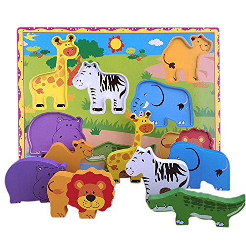 Lewo Wooden Wild Animals Chunky Puzzle for Toddlers Preschool Learning Educational Toys 7 Pcs (Wild Animal) by Lewo