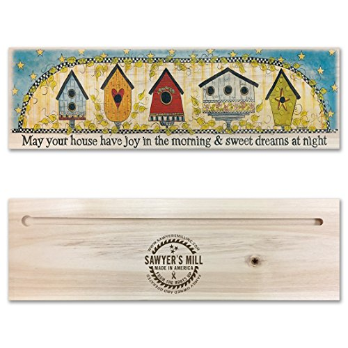 Mill Birdhouse - May Your Home Have Joy in the Morning and Sweet Dreams at Night - Handmade Wood Block Sign with Birdhouse