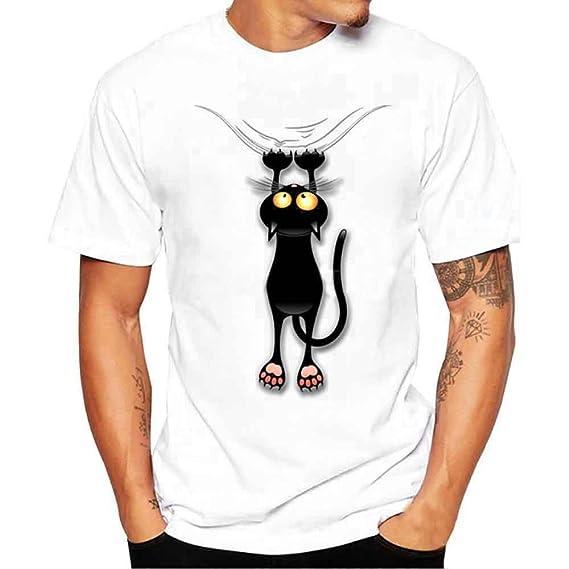 Hombres más tamaño Impresas Camisetas Manga Corta