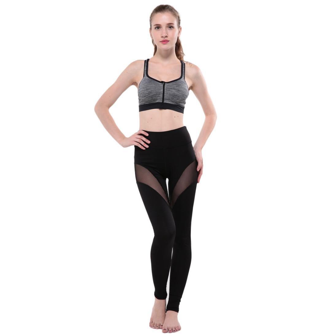 iTLOTL Women Fitness Leggings High Waist Mesh Patchwork Skinny Push up Pants Yoga Pants Black,XL