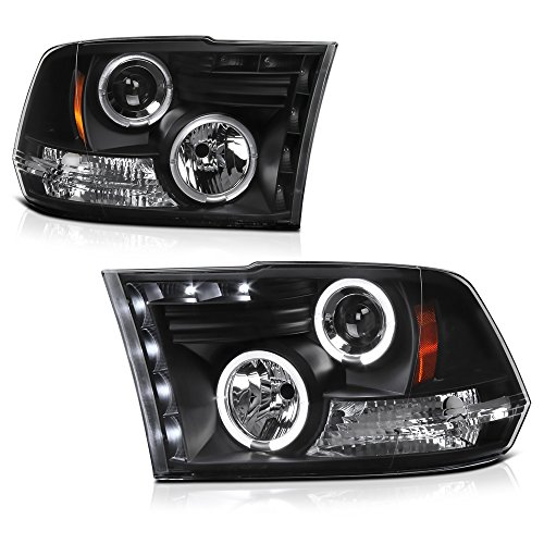 For 2009-2018 Dodge RAM 1500 2500 3500 Dual LED Halo Ring Black Projector Headlight Housing Headlamp Assembly Replacement Driver & Passenger Side