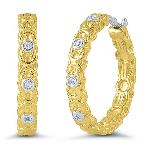 Byzantine Diamond Earrings - Sterling Silver & Yellow Gold Plated Diamond Byzantine Link Hoop Earrings