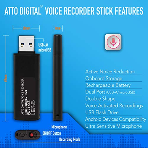 Slim Voice Activated Recorder - USB Flash Drive | 26 Hours Battery | 8GB -  94 Hours Capacity | 512 Kbps Audio Quality | Easy to Use USB Memory Stick