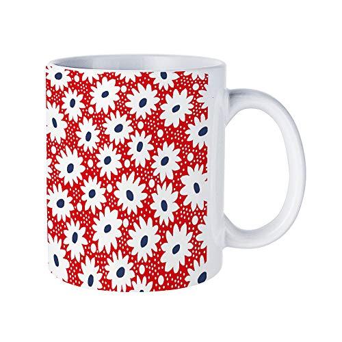 DKISEE Abstract Daisies Flower Coffee Mug Novelty 11oz White Ceramic Mug Birthday Christmas Anniversary Gag Gifts Idea