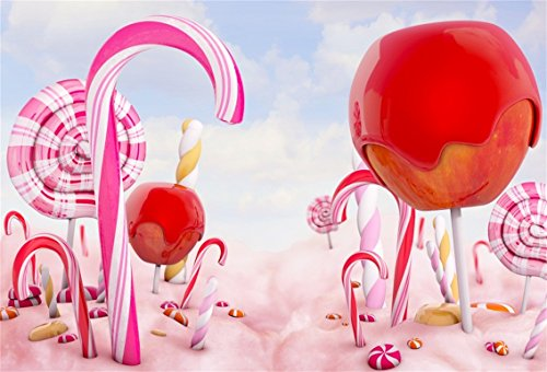 CSFOTO 7x5ft Background for Lollipop Landscape Candy World Photography Backdrop Fantasy Candy Canes Dreamy Sweet Food Wonderland Children Kid Baby Portrait Photo Studio Props Polyester Wallpaper