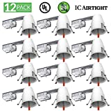 Sunco Lighting 12 Pack 4 Inch Remodel LED Light Can Air Tight IC Housing, Recessed Lights, LED Downlight, For Retrofit Kit, Electrician Prefered - UL Listed and Title 24 Certified (TP24)