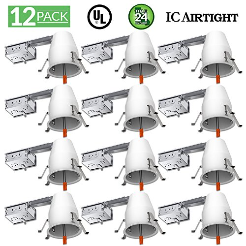 Sunco Lighting 12 PACK - 4' inch Remodel LED Can Air Tight IC Housing LED Recessed Lighting- UL Listed and Title 24 Certified, WHITE, TP24