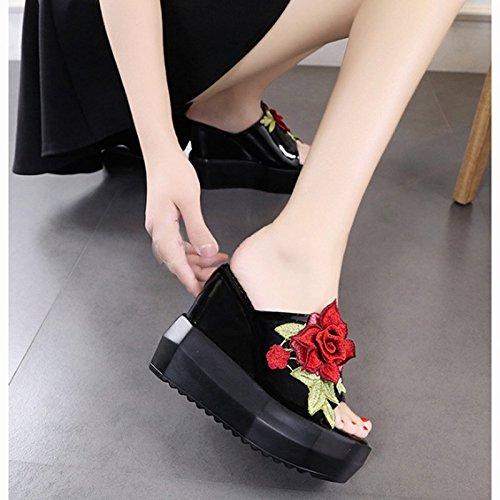 Talon Rose Semelle Haute D'¨¦t¨¦ Femmes Pantoufles Natation Toe Imperm¨¦Able Plage Brod¨¦ Tongs Pt1 Abuyall Chaussures Sandales Sandales XxYwq0fYt