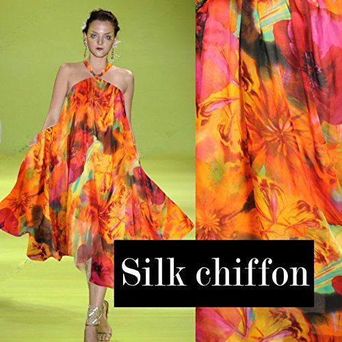 Export Anti wrinkle thin real silk mulberry silk chiffon fabric printed textile for sewing dress cloth carf hot sale