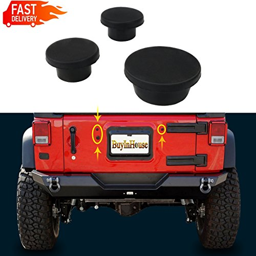 3pc Wrangler JK 2007-2018, Black Tailgate Durable Rubber Plugs Set, Tramp Stamp Tire Carrier Delete Removable Snug Rubber
