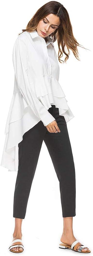 Camisa de Las Mujeres Blusa Blanca Tops de Gasa asimétrico Volante de Manga Larga Moda cóctel Fiesta Sexy Prom Formal Elegante Casual Vestido de Dama: Amazon.es: Ropa y accesorios