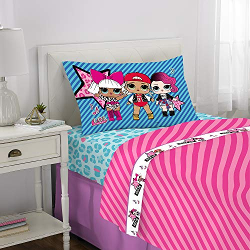 (L.O.L. Surprise! Kids Bedding Soft Microfiber Sheet Set, 3 Piece Twin Size, Blue/Pink)