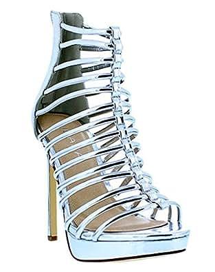 Strappy Open Toe Women High Heel Booties Gladiator Ivanka5