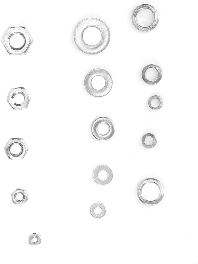 750PCS Flat Washer Nut Set Stainless Steel Hardware Lock Tools Fastener Hardware Accessories Elastic Washer