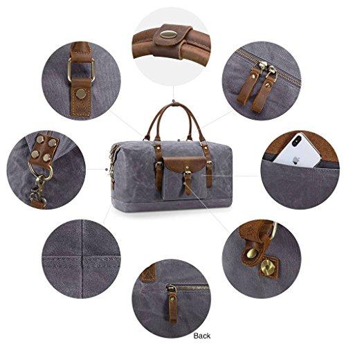 Plambag Oversized Duffel Bag, Waterproof Canvas Leather Trim Overnight Luggage Bag(Grey) by Plambag (Image #5)