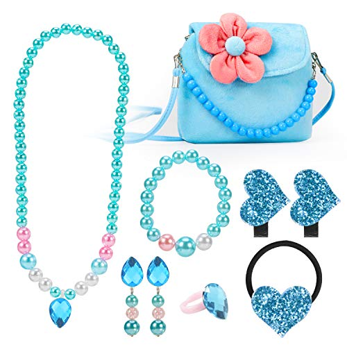 Hifot Kids Jewelry Little Girls Plush Handbag Necklace Bracelet Earrings Ring Hair Clips Set, Princess Costume Jewelry Party Favors Gift for Dress up Pretend Play (3-8 Years)