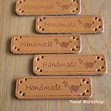 """5pcs / 20pcs: Synthetic PU Leather Label Handmade and Little Bird Motif with Holes 0.56"""" x 2"""" (15mm x 50mm) Sewing Embellishment Knit DIY (Brown, 5pcs)"""