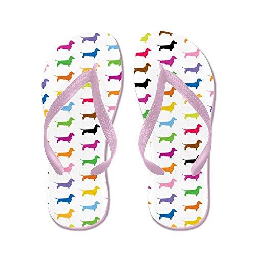 Cafepress Kleurrijke Teckels - Flip Flops, Grappige String Sandalen, Strand Sandalen Roze
