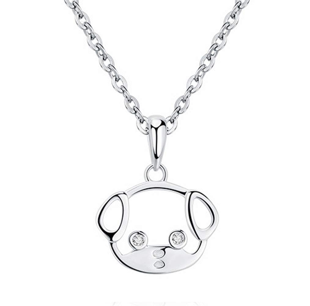 Onlyfo 925 Silver Cutout Cubic Zirconia Eyed Dog Puppy Head Pendant Necklace with Jewelry Box,Short Dog Necklace for Women (Silver)