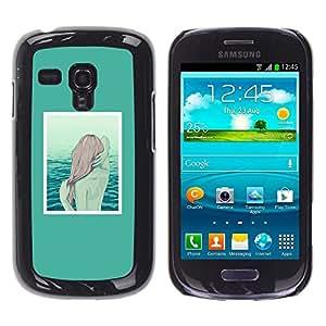 Caucho caso de Shell duro de la cubierta de accesorios de protección BY RAYDREAMMM - Samsung Galaxy S3 MINI NOT REGULAR! I8190 I8190N - Mermaid Redhead Girl Art Sea Water