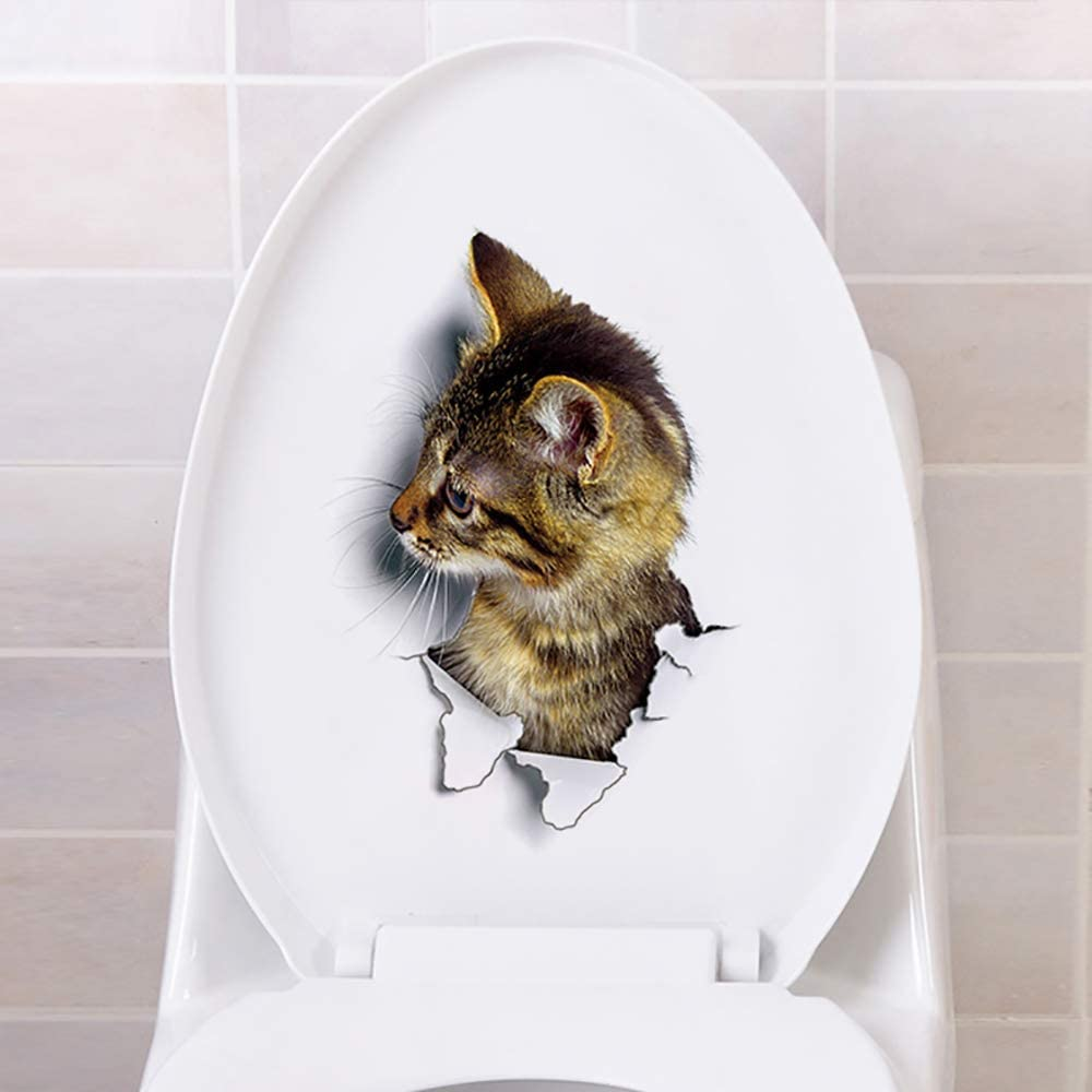 3D Katze Hund Wandtattoo Wandsticker Aufkleber Sticker Badezimmer Toilette WC