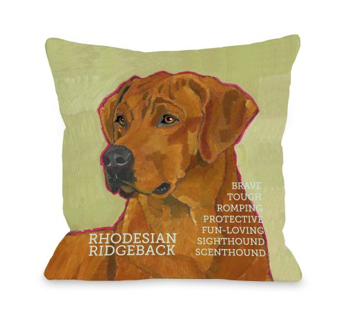 One Bella Casa Rodesian Ridgeback 1 Pillow, 16 by 16-Inch