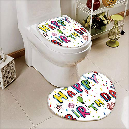 (2 pcs Toilet Cover Set Non-Slip mat Bathroom Non-Slip mat,Colored Cute Letters Greeting Crown Flower Petals,3D Print Heart Shape Toilet seat Cushion Customized Fashion)