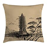 Ambesonne Asian Throw Pillow Cushion Cover, Old Stone Tiered Tower Vintage Taoist House of Faith Historical Illustration, Decorative Square Accent Pillow Case, 28 X 28 Inches, Pale Brown Black
