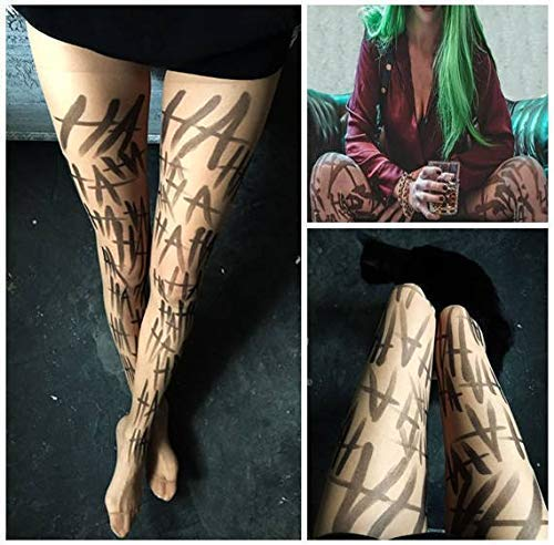 Joker tattoos tights Womens Costume Suicide Squad Cosplay