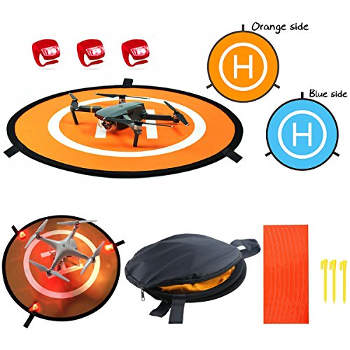Drones Landing Pad With 3 Pcs LED Litghts 55cm/21''Collapsible Blue orange double-sided available waterproof Landing Pads For RC Drones Helicopter ()