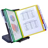 Ultimate Office AdjustaView 10-Pocket Desk Reference Organizer with Easy-Load Pockets and Compact Weighted Base for Stability