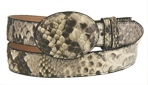 Men's New Genuine Exotic Python Snake Skin Cowboy Western Rodeo Dress Belt Natural Color (34) (38) - Exotic Belts
