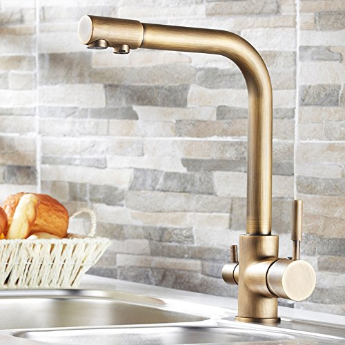 Lovedima Stev Antique Brass Single Handle Kitchen Sink Faucet Mixer Tap with Water Filtering (Antique Brass)