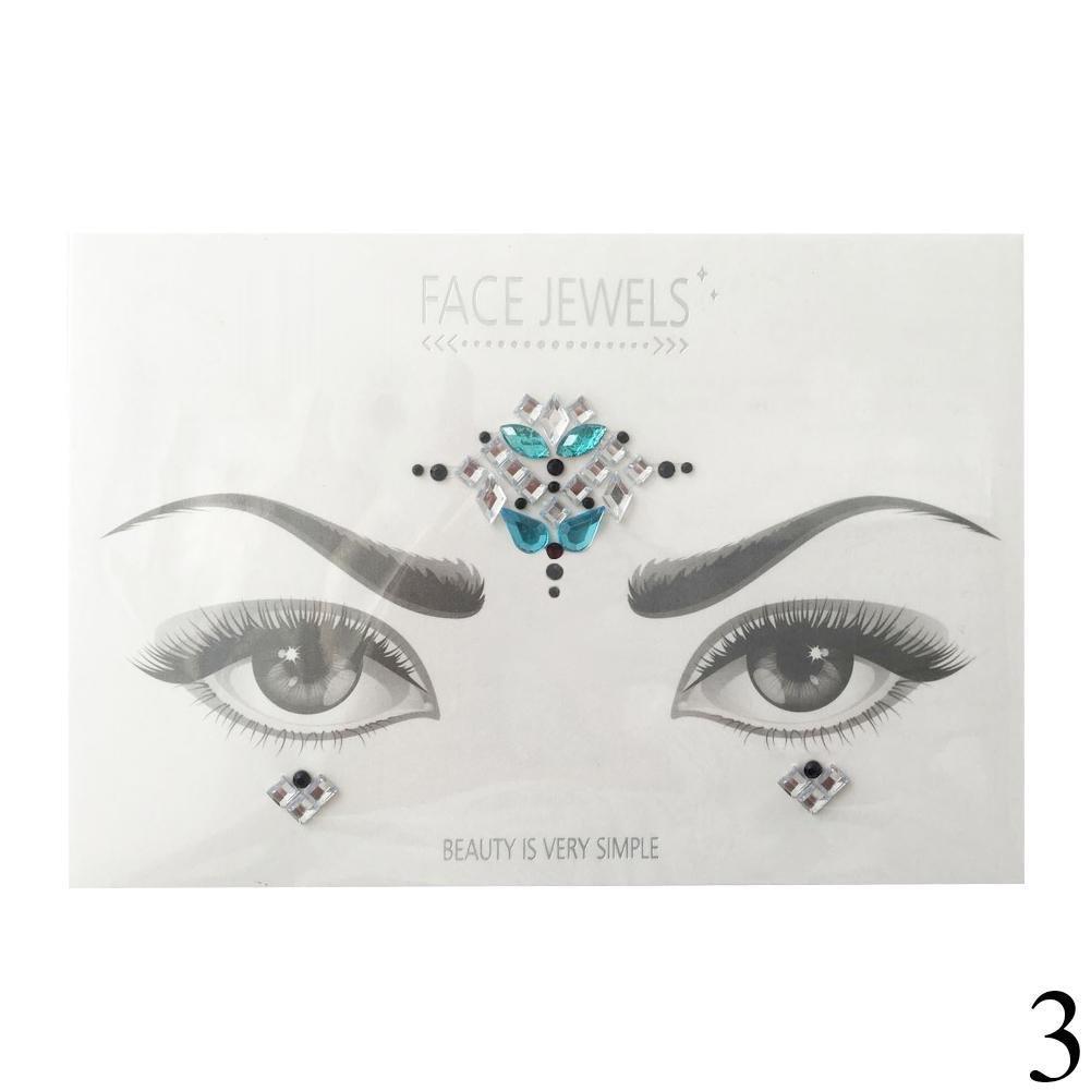 Gracefulvara 3D DIY Adhesive Face Gems Rhinestone Jewels Body Glitter Stickers (1#)