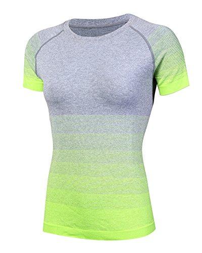 Camiseta Deportiva - Degradado de Color Camiseta de Manga Corta para Mujer  Verde